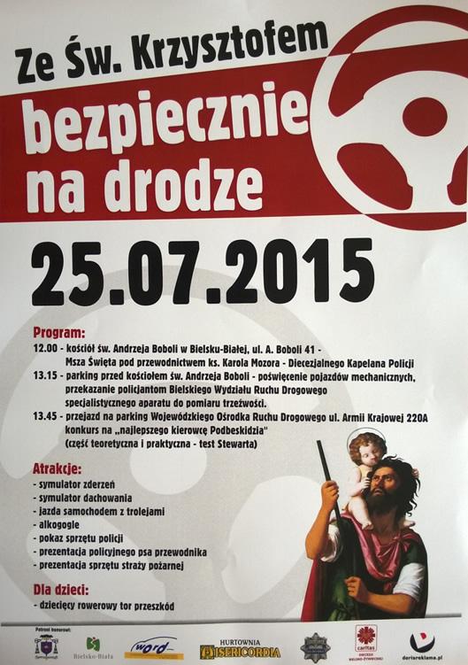 Plakat - Ze św. Krzysztofem bezpiecznie na drodze